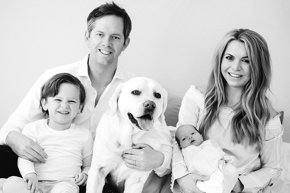 Doctor Blake Sherrick and his family smiling at auburn lakes orthodontics
